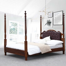 Four Poster Bed Frame w Headboard English Tudor Solid Wood & Leather