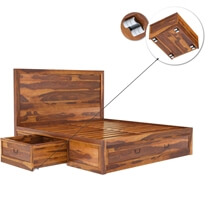 Classic Shaker Solid Wood Platform Bed With Storage
