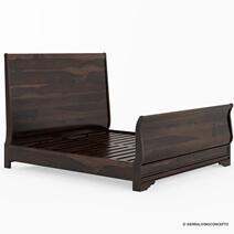 Hartsville Sleigh Back Solid Wood Platform Bed Frame