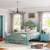 Victorian Turquoise Mango Wood Platform Bed Frame w High Headboard