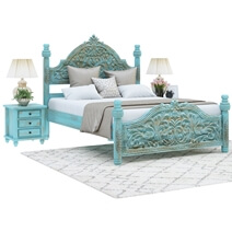 Victorian Turquoise Mango Wood Platform Bed Frame w High Headboard