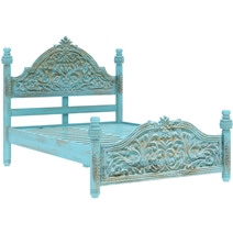 Victorian Winter White Mango Wood Platform Bed Frame w High Headboard
