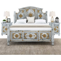Tudor Distressed Mango Wood & Brass Inlay Platform Bed Frame