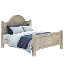 Gothic Rustic Winter White Mango Wood Platform Bed w Foot & Headboard