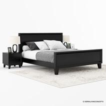 Modern Simplicity Mocha Solid Wood Black Platform Bed