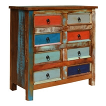 Sedona Primary Colors Reclaimed Wood 8 Drawer Vertical Dresser Chest