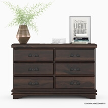 Modern Pioneer Solid Wood 6-Drawer Dresser