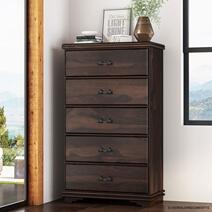 Modern Pioneer Solid Wood 5 Drawer Tall Dresser Chest
