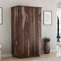 Hampshire Rustic Solid Wood Wardrobe Armoire With Drawers And Shelves