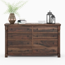Pioneer Transitional Solid Wood 8 Drawer Bedroom Double Dresser