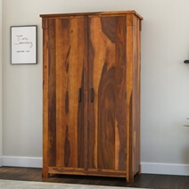 Modern Farmhouse Solid Wood Wardrobe Armoire With Drawers & Shelves