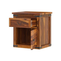 Classic Shaker Solid Wood Nightstand w Drawer & Cabinet