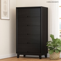 Modern Simplicity Solid Wood Black Tall Dresser With 6 Drawers