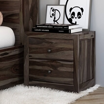 Modern Pioneer Solid Wood 2 Drawer Nightstand