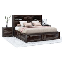 Modern Pioneer Solid Wood Storage Captains Bed