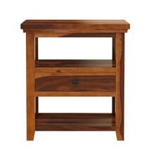 Mission Modern Solid Wood 3 Tier Nightstand Table with Drawer