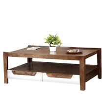 60's Retro Mango Wood 2 Tier Raised Edge Coffee Table w Drawers