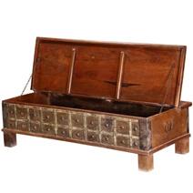 Mediterranean Rustic Reclaimed Wood Standing Coffee Table Trunk