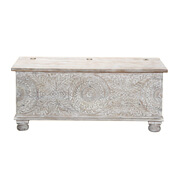 Snow Flower Mango Wood Hand Carved Standing Coffee Table Chest