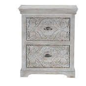 Snow Flower Mango Wood 2-Drawer Hand Carved Nightstand