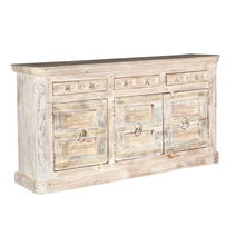 Palazzo Rustic Distressed Reclaimed Wood  3 Drawer Large Sideboard