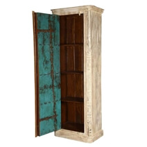 Ozona Distressed Rustic Solid Reclaimed Wood Tall Narrow Armoire