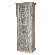 Sirmons Whitewashed Single Door Rustic Solid Wood Tall Narrow Armoire