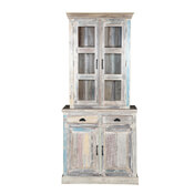 Cavea Country Winter White Reclaimed Wood Small Dining Room Hutch