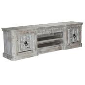 Palazzo 91 Light Grey 2-Door Solid Wood Media Console Cabinet