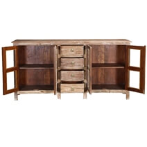 Palazzo Rustic Solid Wood Glass Door 4 Drawer Large Sideboard