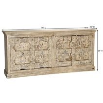 Zaleski Handcrafted Reclaimed Wood 4 Door Extra Long Buffet Cabinet