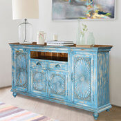 Sky Blue Starburst Handcrafted Mango Wood 2 Drawer Large Buffet
