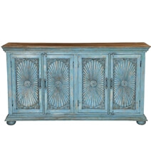 Sky Blue Starburst Mango Wood Large Sideboard Cabinet