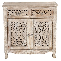 Queen Anne Lace Mango Wood Double Door Standing Buffet Cabinet