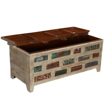 Impressionist Brick Wall Mango & Reclaimed Wood Coffee Table Chest