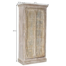 Williston Winter Dream Solid Mango & Reclaimed Wood Armoire w Shelves