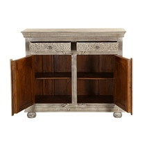 Harrison Handcrafted Solid Wood 2 Drawer Small Sideboard Cabinet