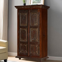 Palazzo Distressed Rustic Solid Reclaimed Wood Armoire With Shelves