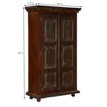 Palazzo Dark 2 Door Rustic Solid Wood Tall Storage Cabinet Armoire