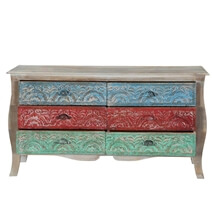 Didmarto Rustic Solid Wood Bombe 6 Drawer Accent Double Dresser