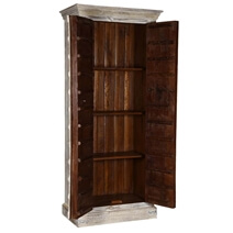 Palazzo Gothic Distressed Solid Wood Tall Gray Armoire With Shelves
