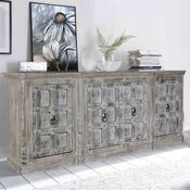 Palazzo Distressed Handcrafted Solid Wood Extra Long Buffet Cabinet