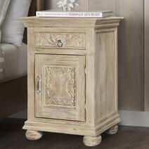 Corbeil Rustic Reclaimed Wood Single Door 1 Drawer Nightstand