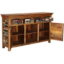 Tangier Mosaic Rustic Reclaimed Wood 4 Drawer Large Sideboard Cabinet