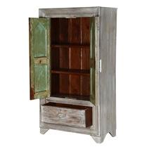 Aviston Distressed Finish Solid Wood Gray Armoire Cabinet