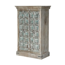Turquoise Trail Blue Rustic Solid Wood Accent Tall Storage Cabinet