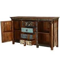 Aurora Handcrafted Rustic Reclaimed Wood 4 Drawer Large Sideboard