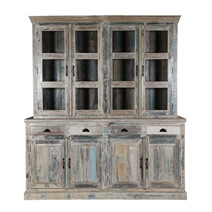 Cavea Country Winter White Rustic Reclaimed Wood Dining Room Hutch