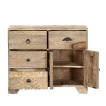 Country Farmhouse Mango Rustic  Wood Freestanding 3 Drawer Chest