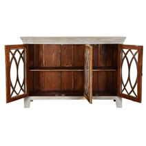 French Provincial Winter White Mango Wood Large Rustic Buffet Cabinet